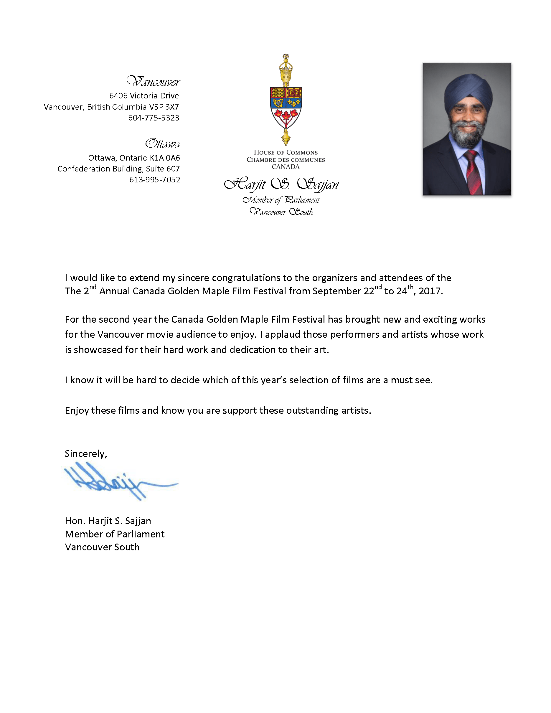 Congratulatory Letter from Harjit S. Sajjan, Canadian Minister of Defence