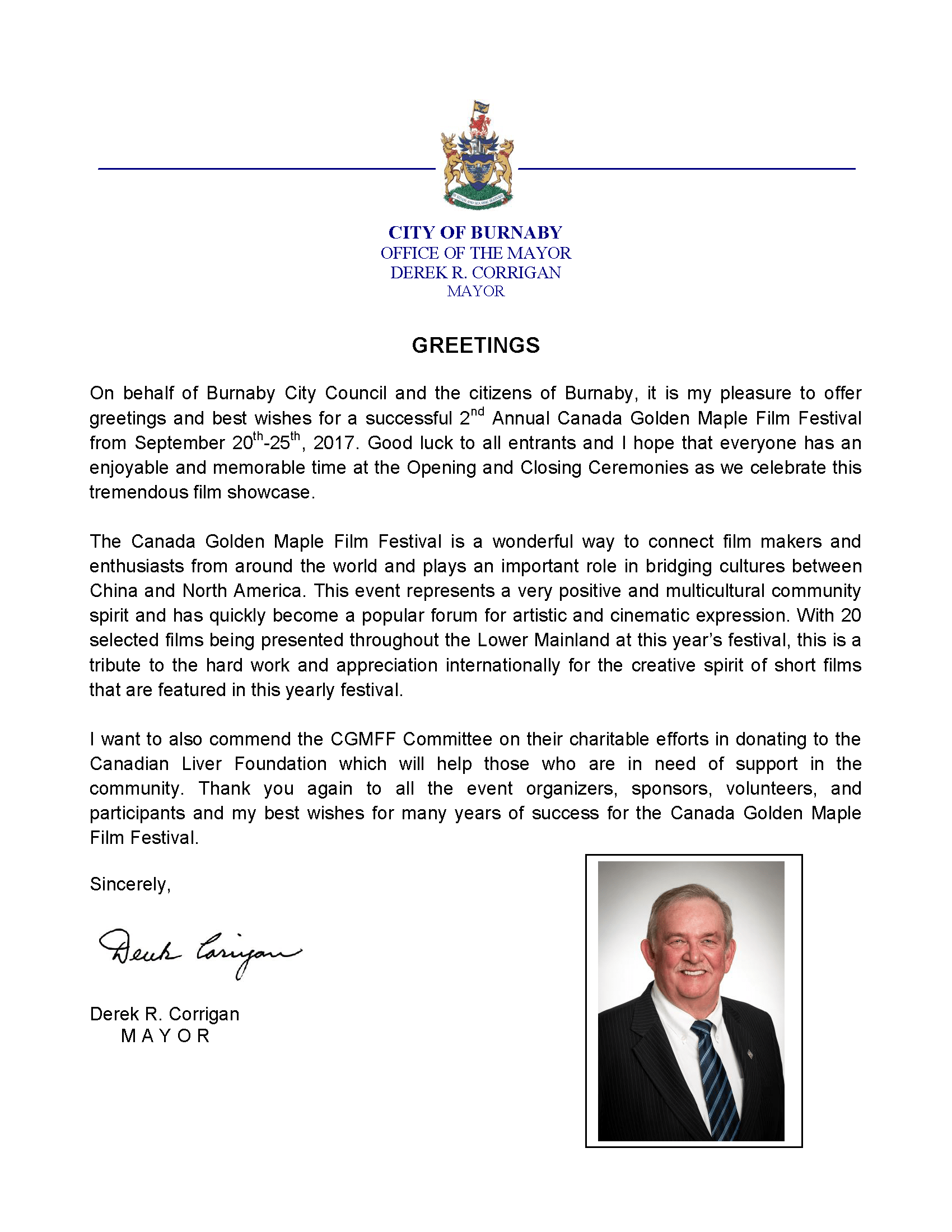 Congratulatory Letter from Derek R. Corrigan, Mayor of Burnaby