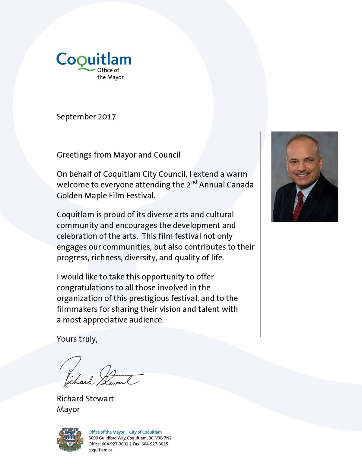 Congratulatory Letter from Richard Stewart, Mayor of Coquitlam