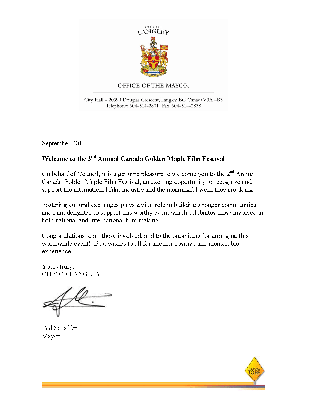 Congratulatory Letter from Ted-Schaffer, Mayor of Langley