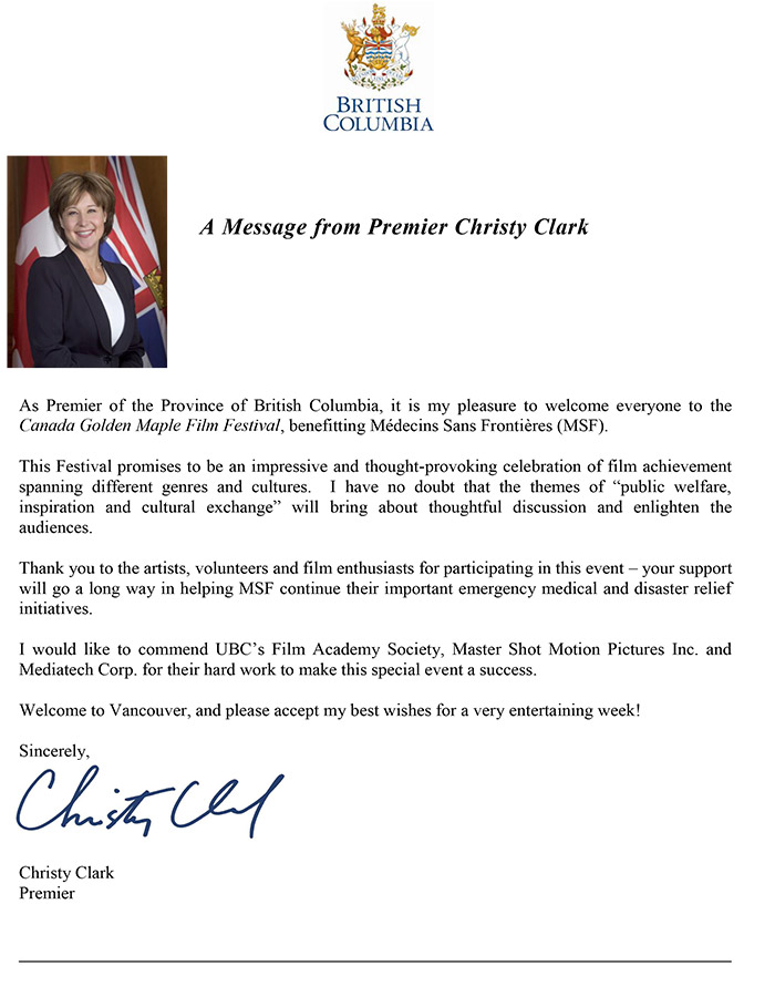 Congratulatory Letter from Christy Clark, The Premier of British Columbia