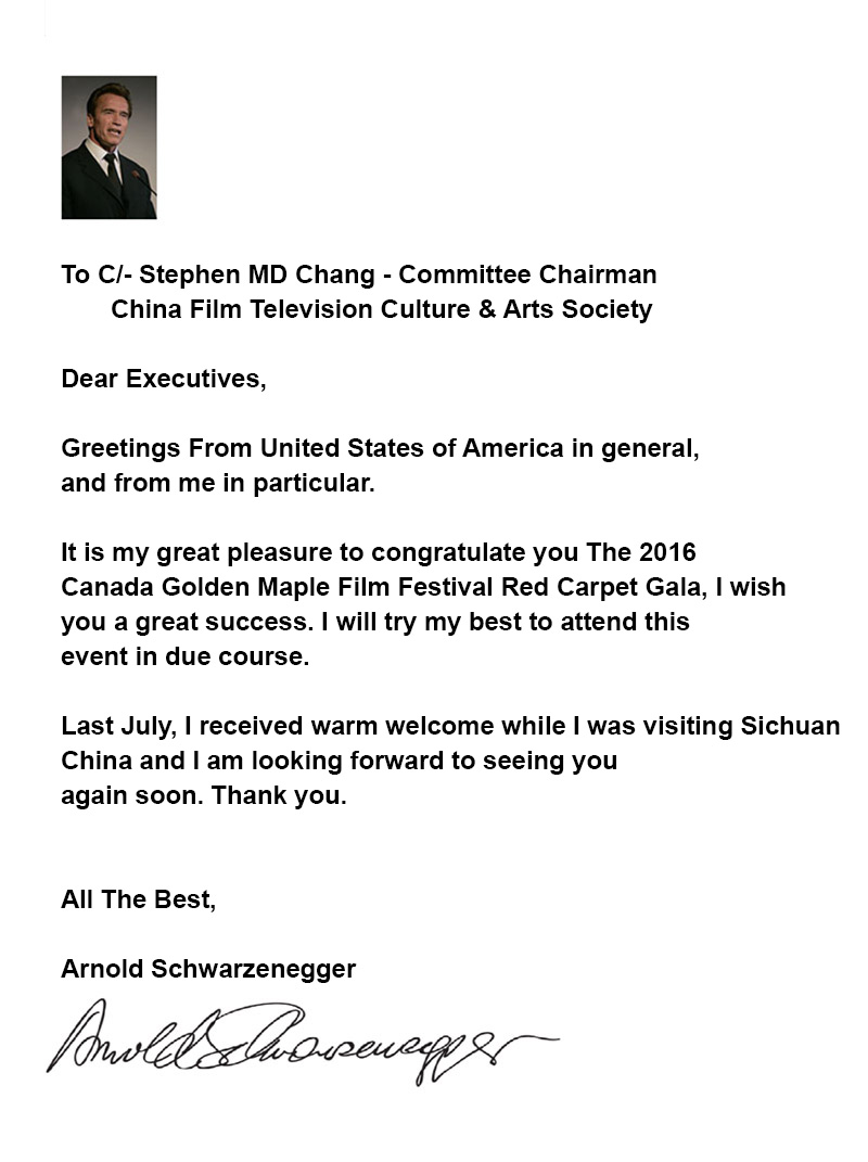 Congratulatory Letter from Arnold Schwarzenegger